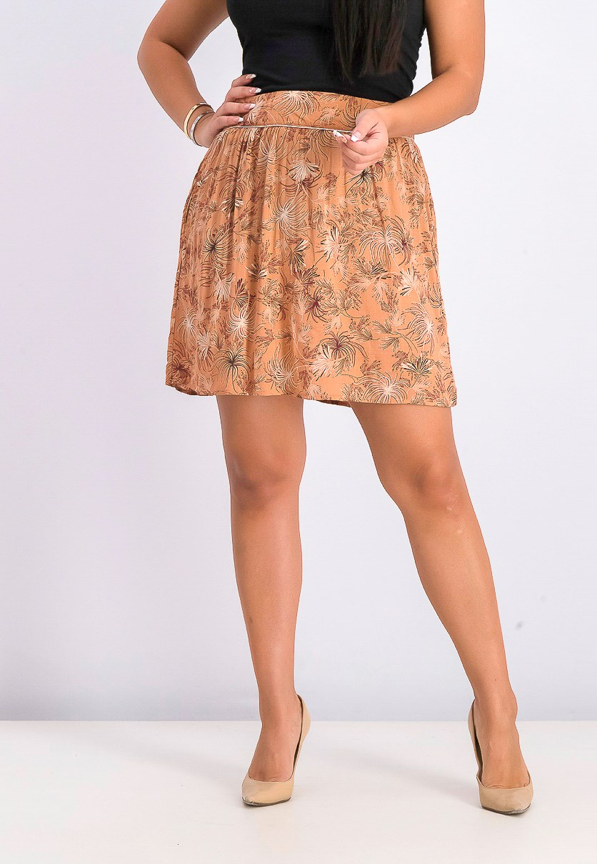 Women's Printed Mini Skirts, Brown