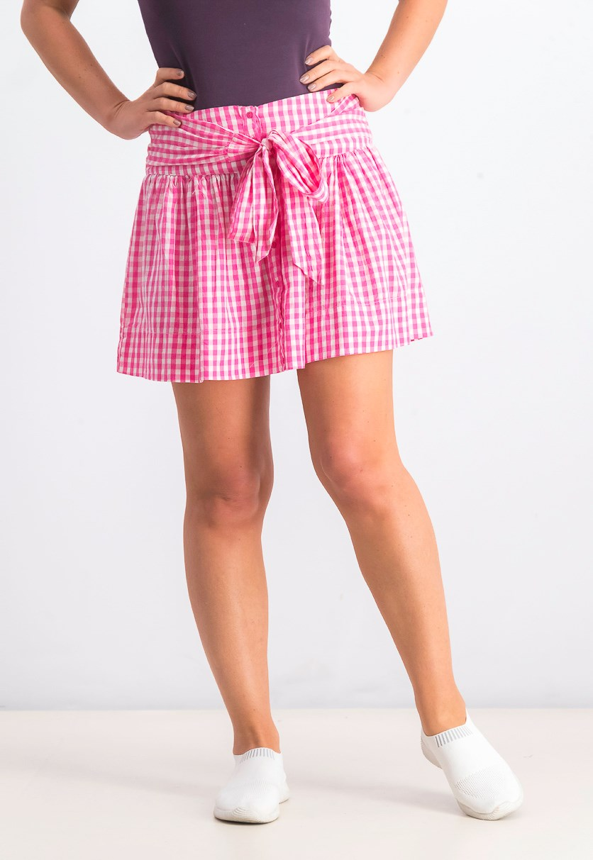 Women's Gingham Skirt, Pink