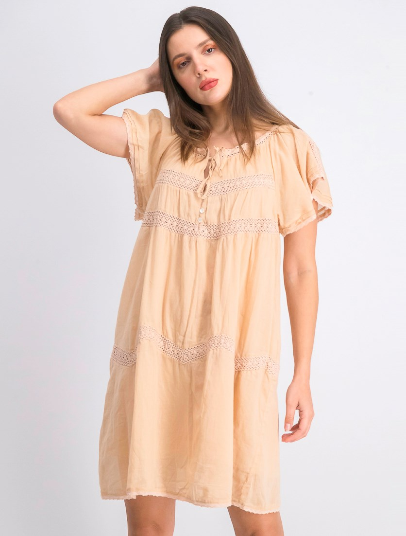 Womens Embroidered Dress, Tan
