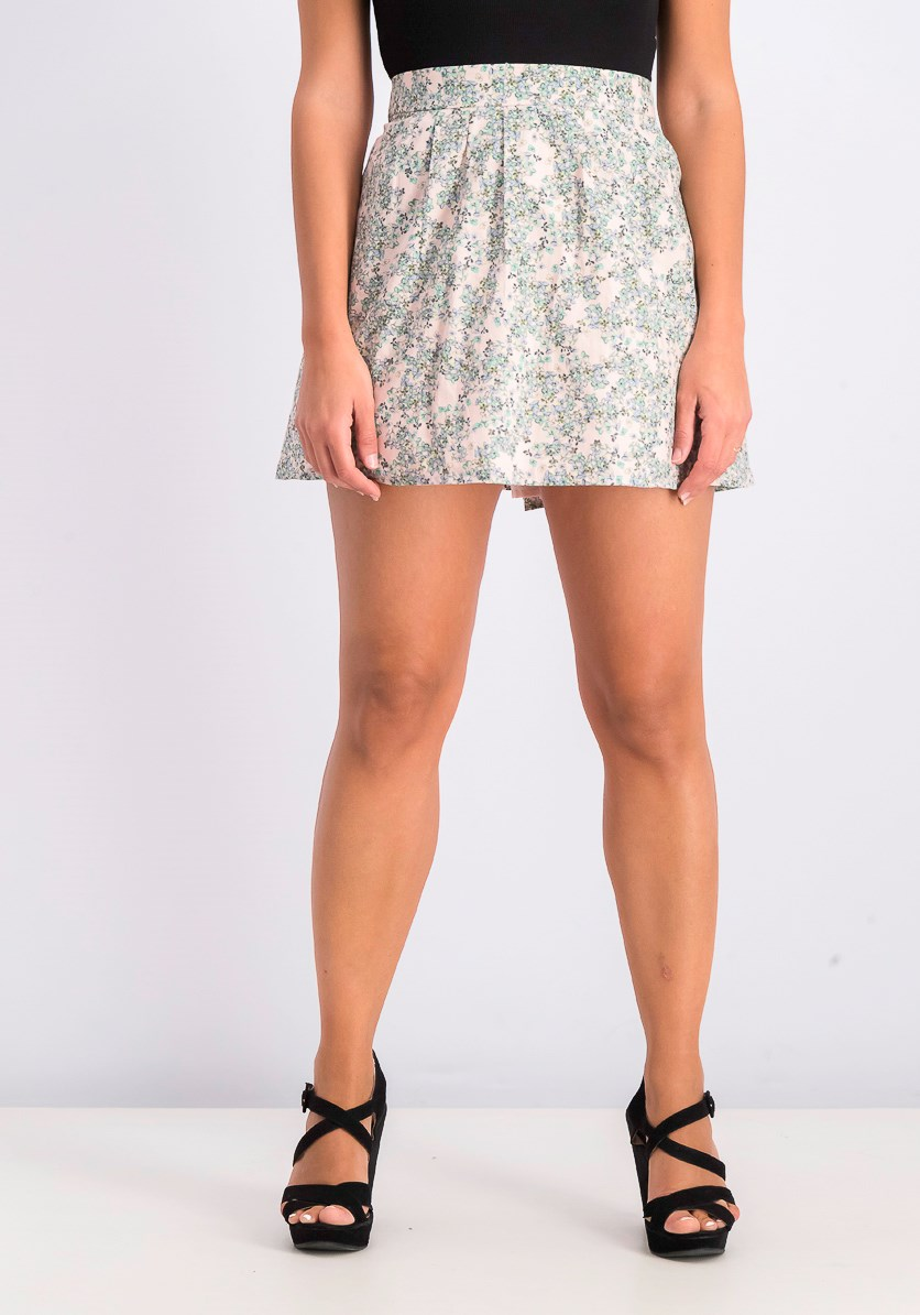 Women's Floral Skirt, Pink/Green Combo