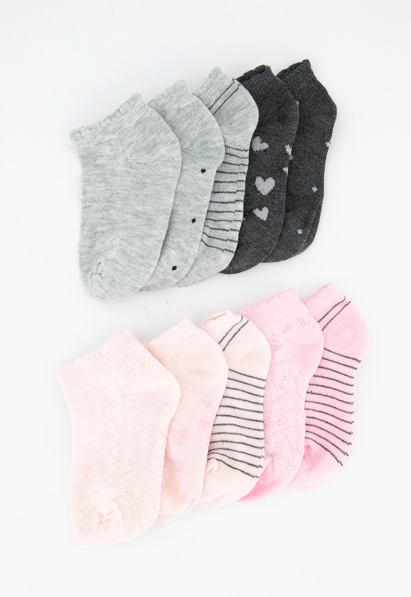 Kids Girls 10 Pairs Show Socks, Pink/Grey/Black