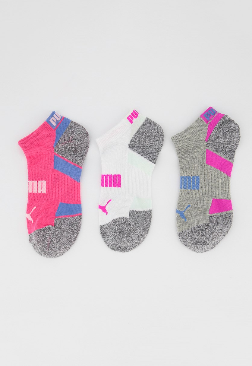 Women's 3 Pack Low Cut Socks, Grey/Pink/White