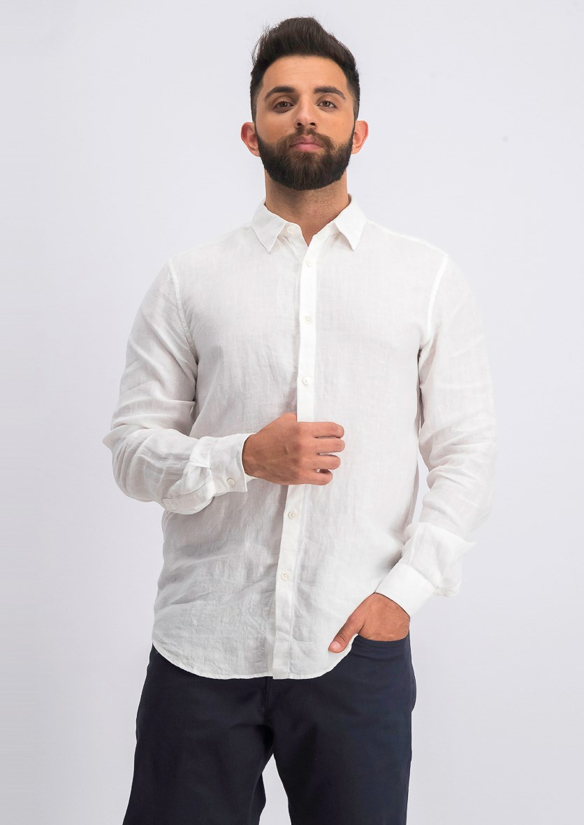 Men's Linen Button-Up Sport Shirt, White