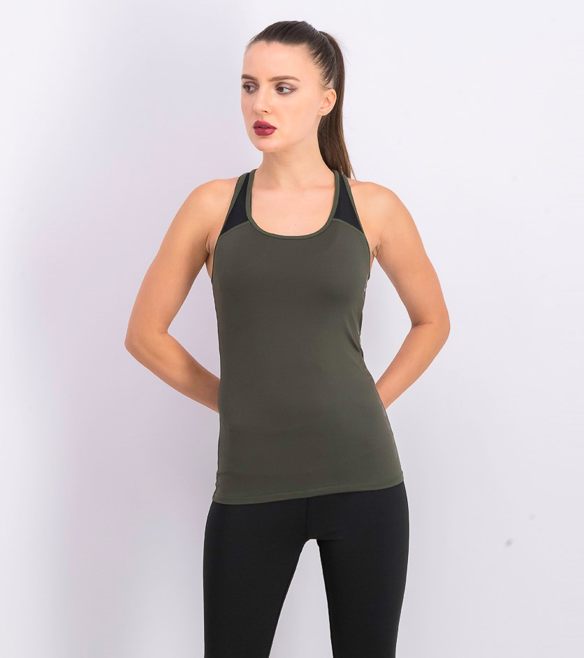 Womens Fitted Mesh Tank Top, Olive