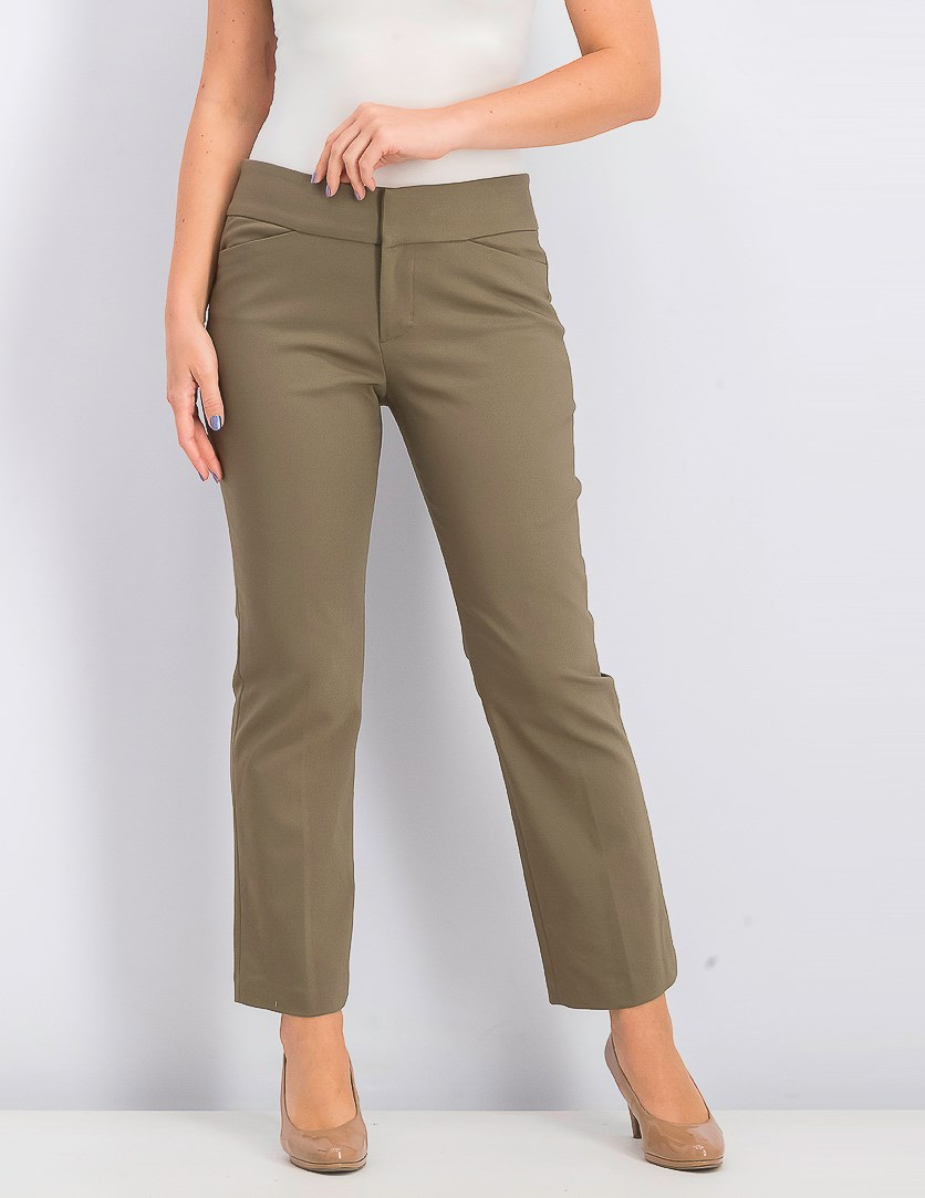Women's Petite Plain Pull-on Pants, Clove Brown/Olive
