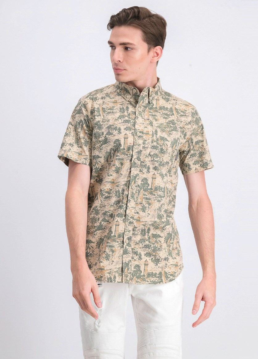 Men's Allover Print Casual Shirt, Rapid Rivers