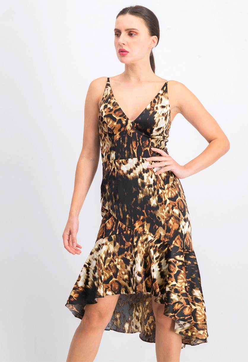 Womens Animal Print Cocktail Midi Dress, Black/Brown