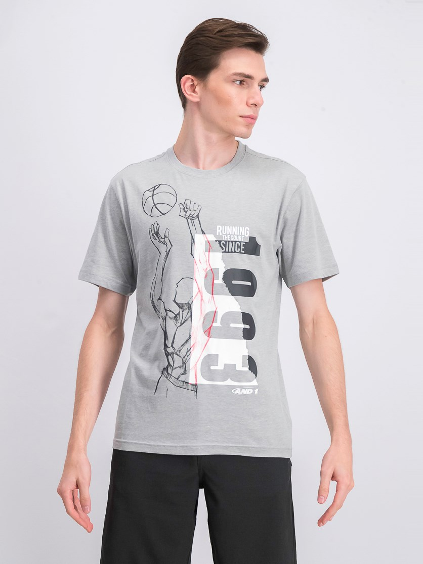 Mens Run To Courts T-Shirt, Heather Gray