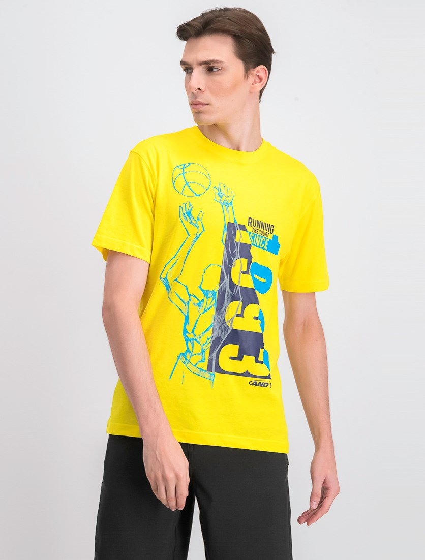 Men's Run To Courts Tee, Vibrant Yellow
