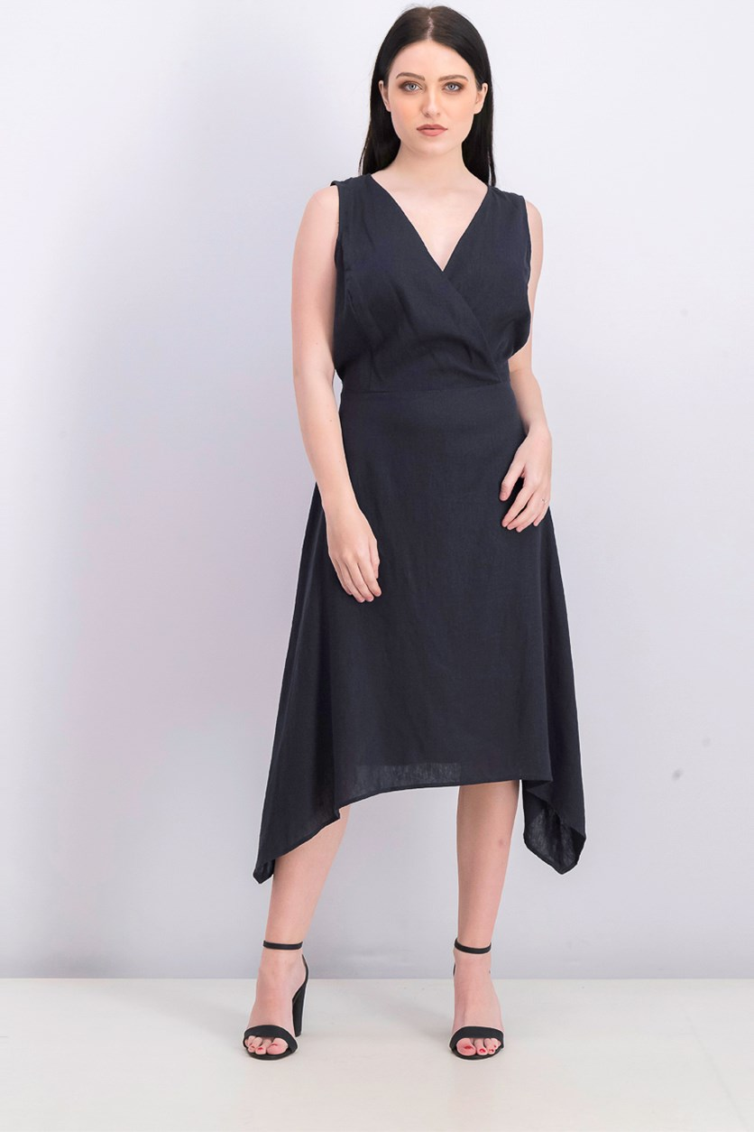 Women's Surplice Tie Waist Midi Dress, Navy