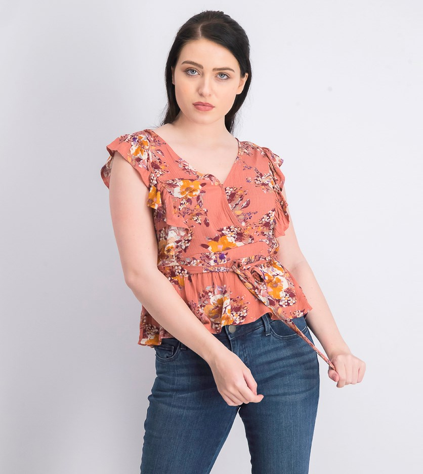 Juniors' Floral-Print Ruffle-Sleeve Top, Coral