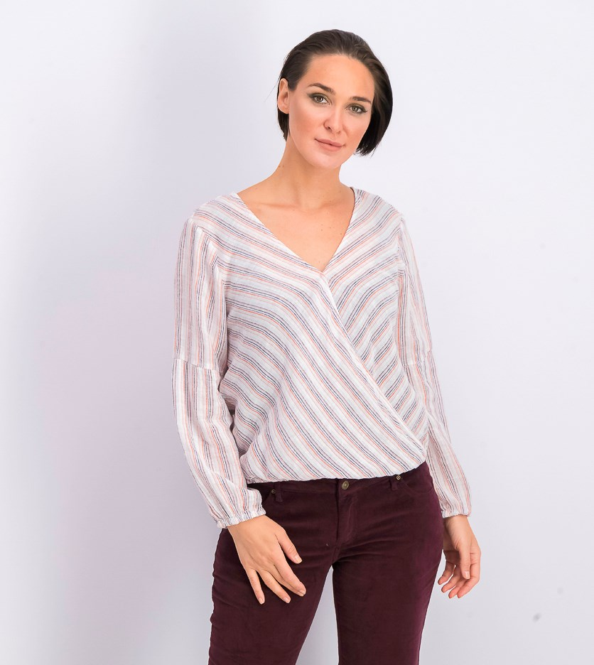 Women's Ivory Striped Long Sleeve Wrap Top, White Combo
