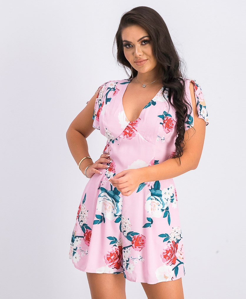 Women's Floral Print Playsuit, Pink Combo