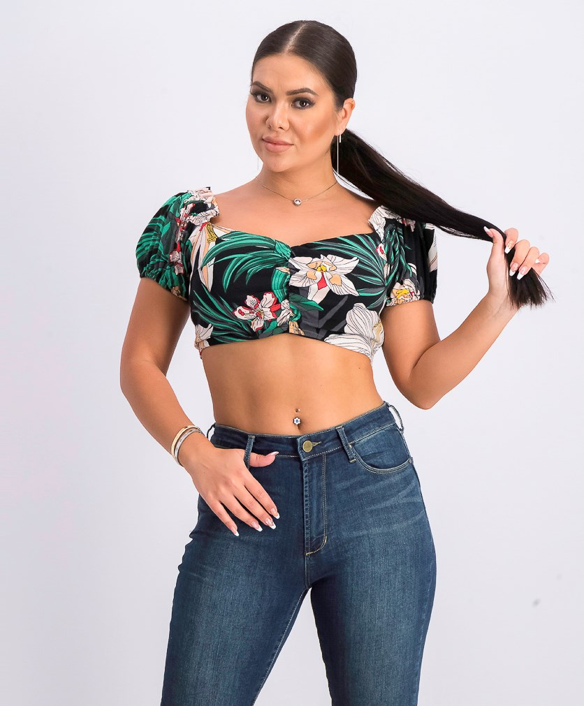 Womens Kamala Off-The-Shoulder Crop Top, Green Combo