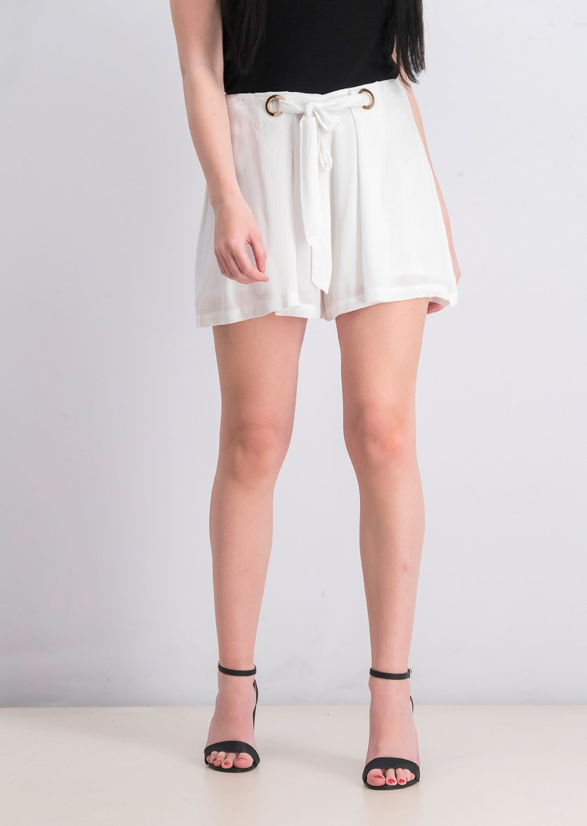 Chica Grommet-Embellished Shorts, Pure White