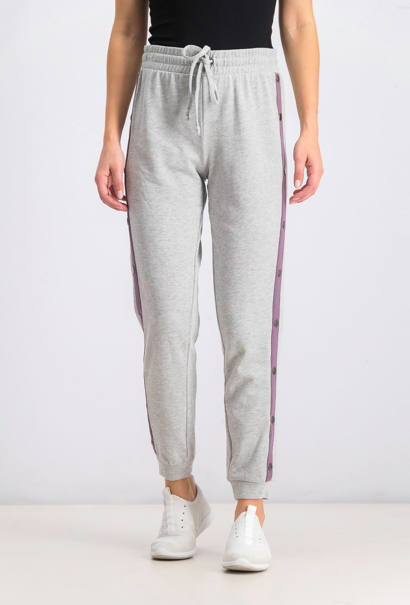 Juniors' Snap-Side Jogger Pants, Heather Grey