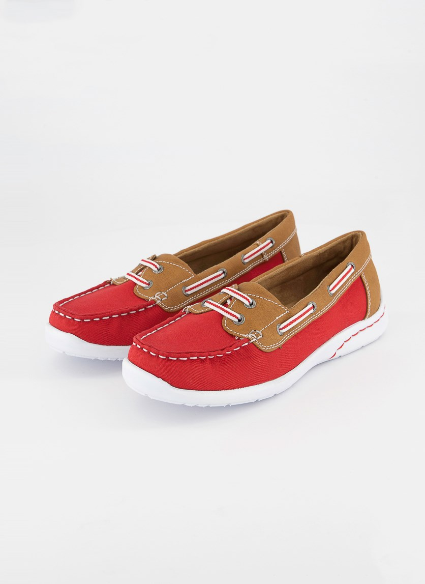 Women's Slip On Shoes, Red/Brown/White