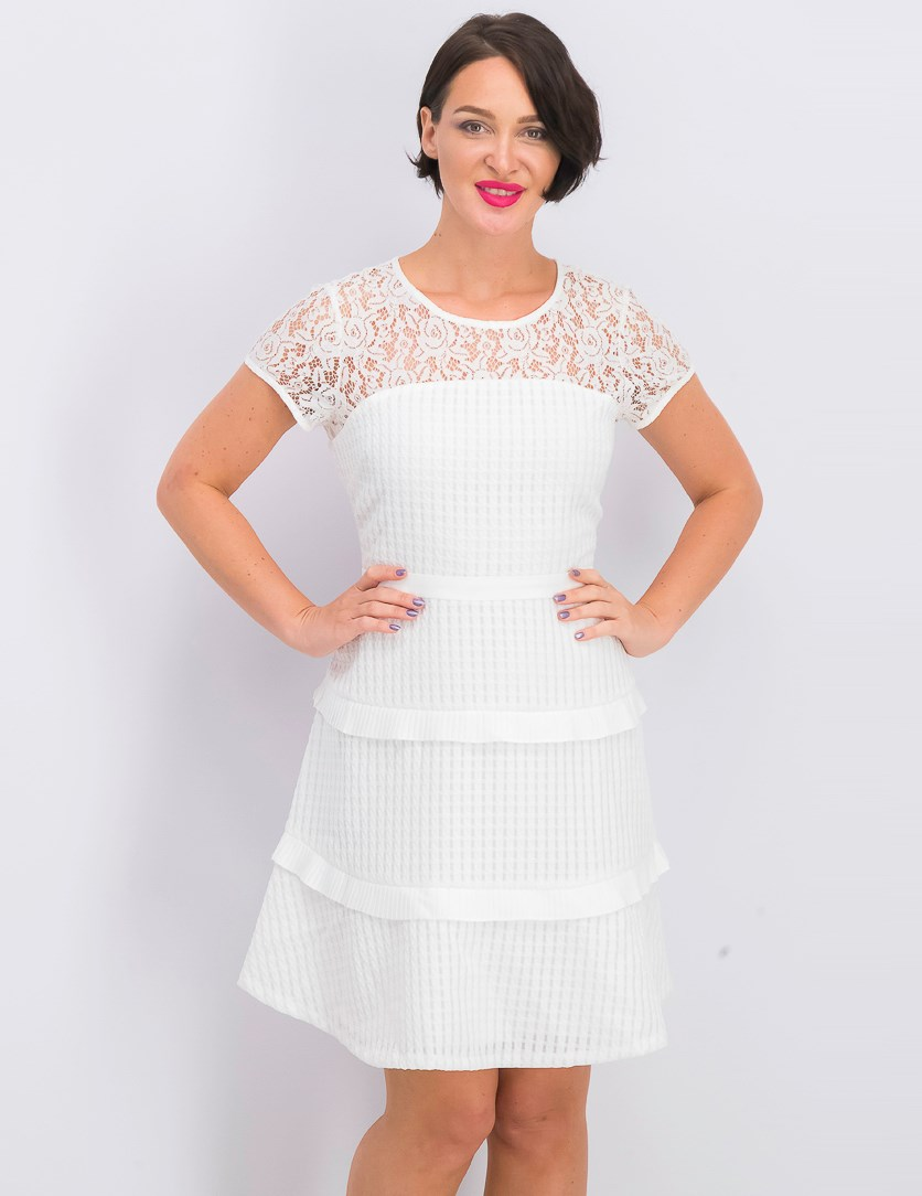 Women's Tiered Lace-Yoke Fit & Flare Dress, White