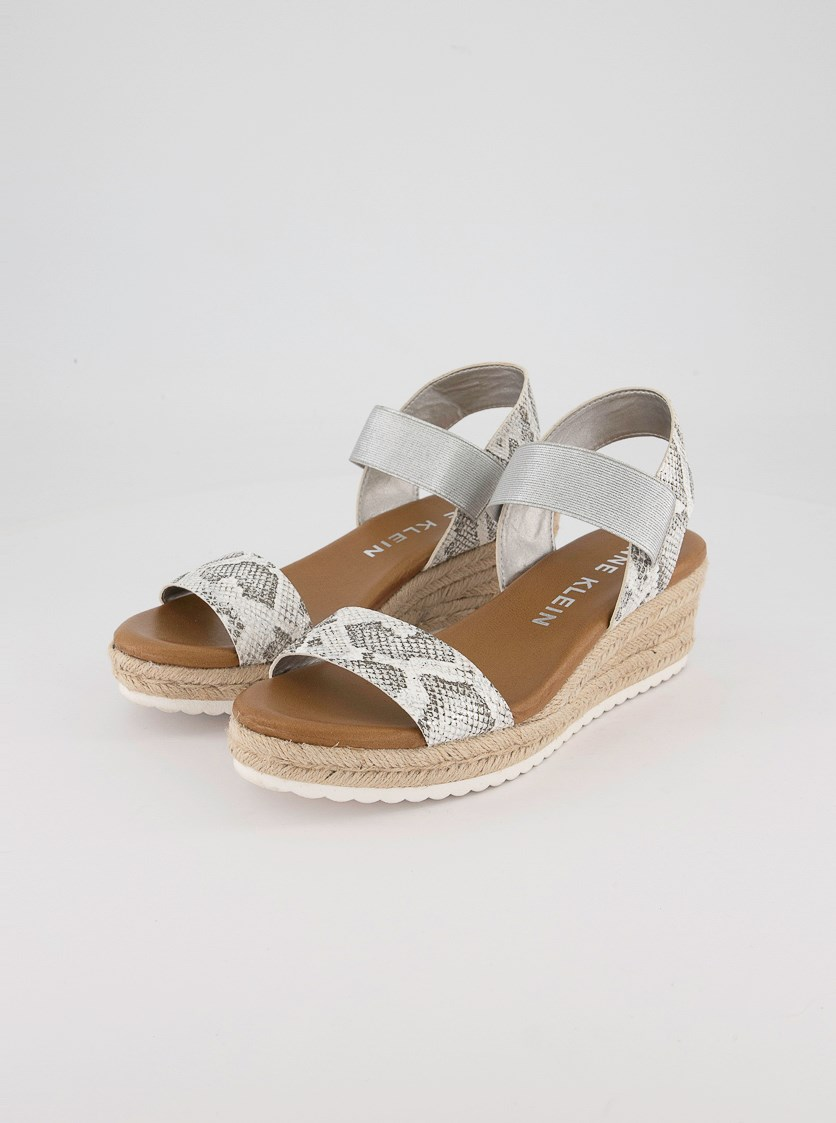 Women's Cait Natural Espadrilles Wedges, White Silver