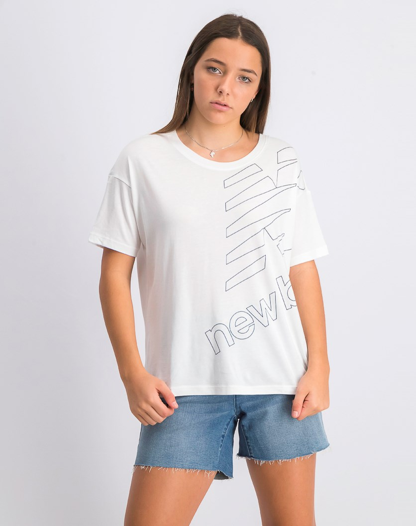 Women's Essential Stacked Boxy Tee, White