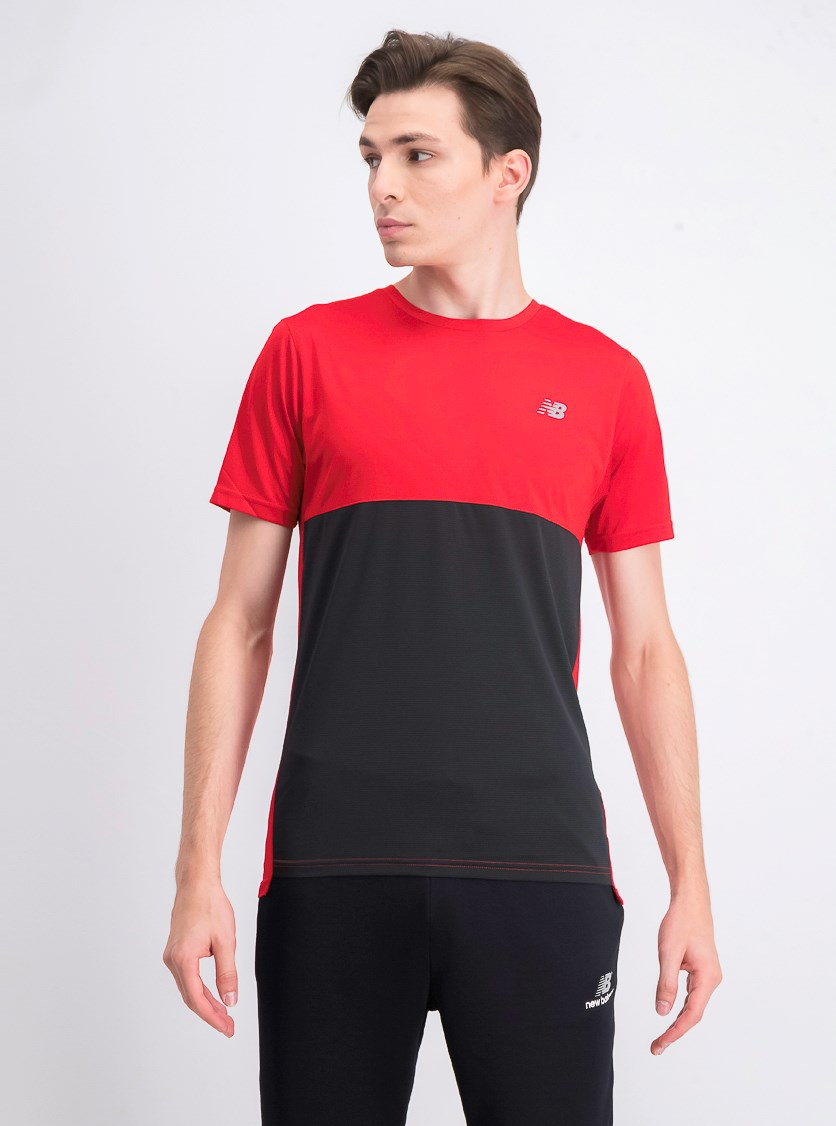 Men's Short Sleeve T-Shirt, Red/Black