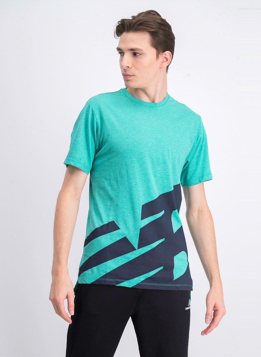 Men's Short Sleeve Heather T Shirt, Green/Navy