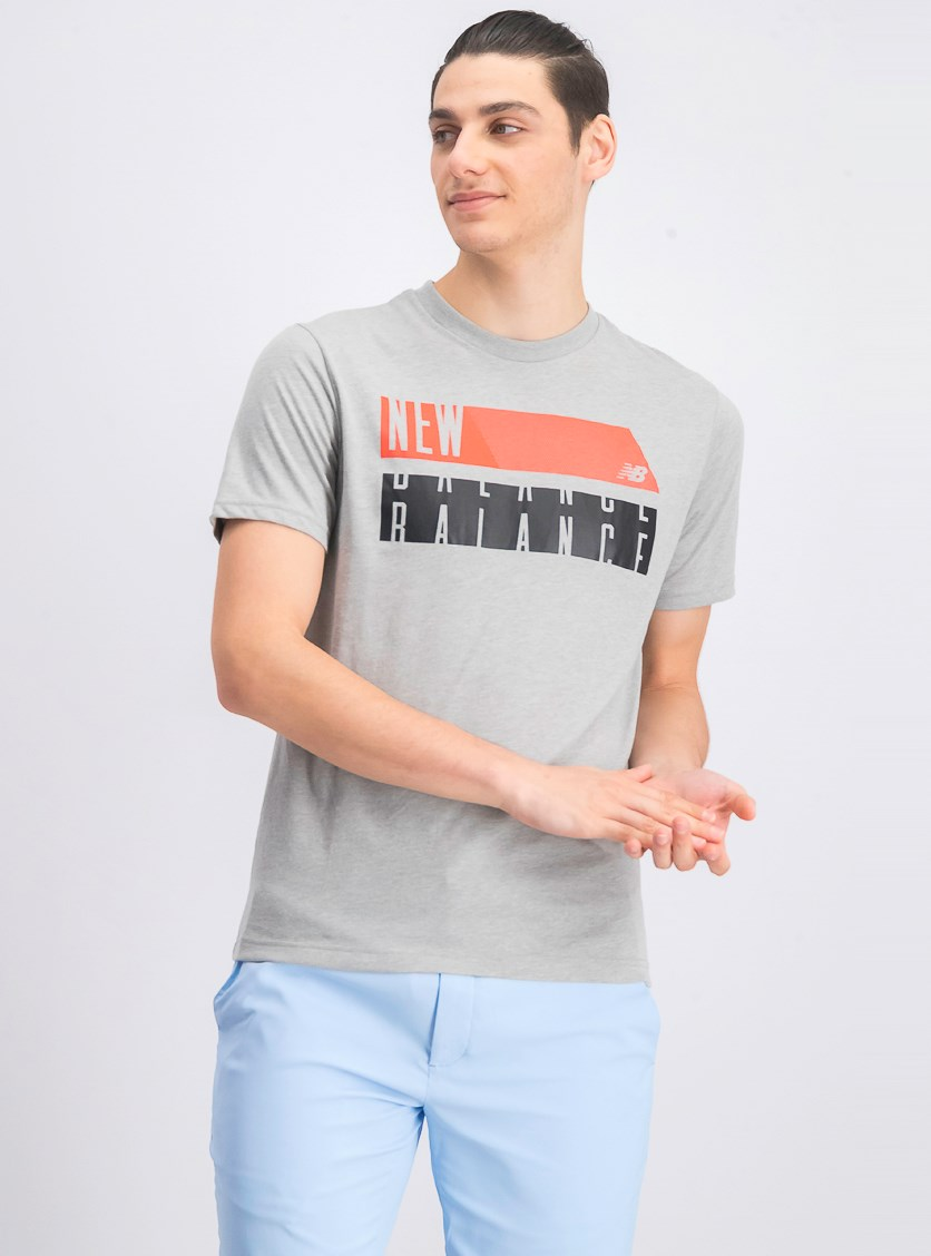 Men's Crew Neck Graphic T-Shirt, Grey/Coral/Grey