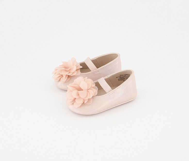 Baby Girls Flower Ballet Shoes, Pink