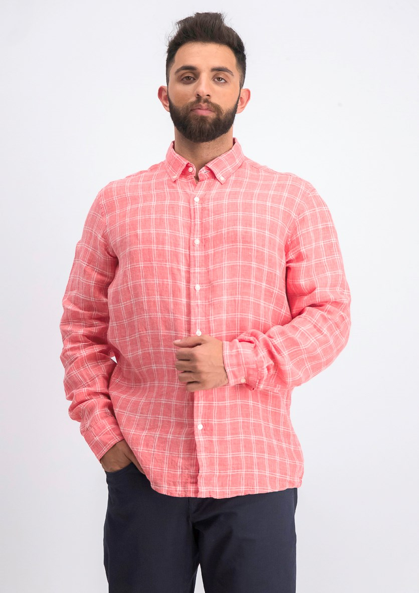 Men's Slim-Fit Melange Check Linen Shirt, Sea Coral