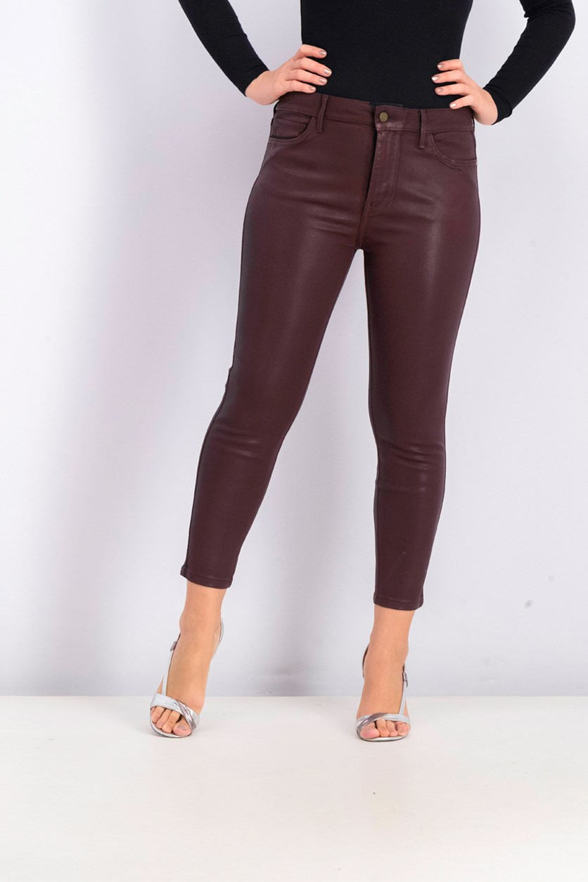 The Stiletto Ankle Coated Skinny Jeans, Bordeaux