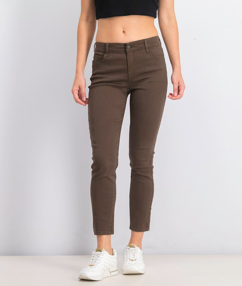 Womens Colored Skinny Jeans, Dark Olive