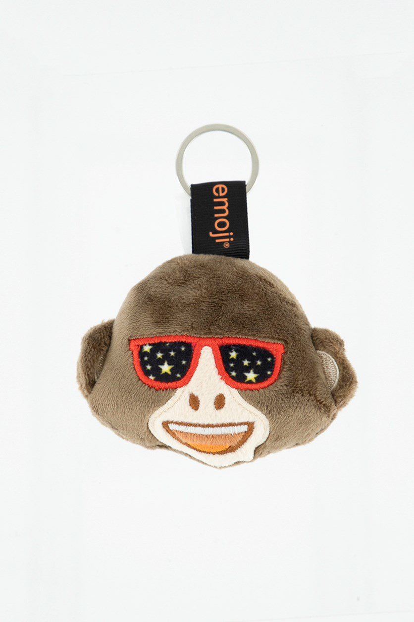 Monkey Emoji Key Chain, Brown