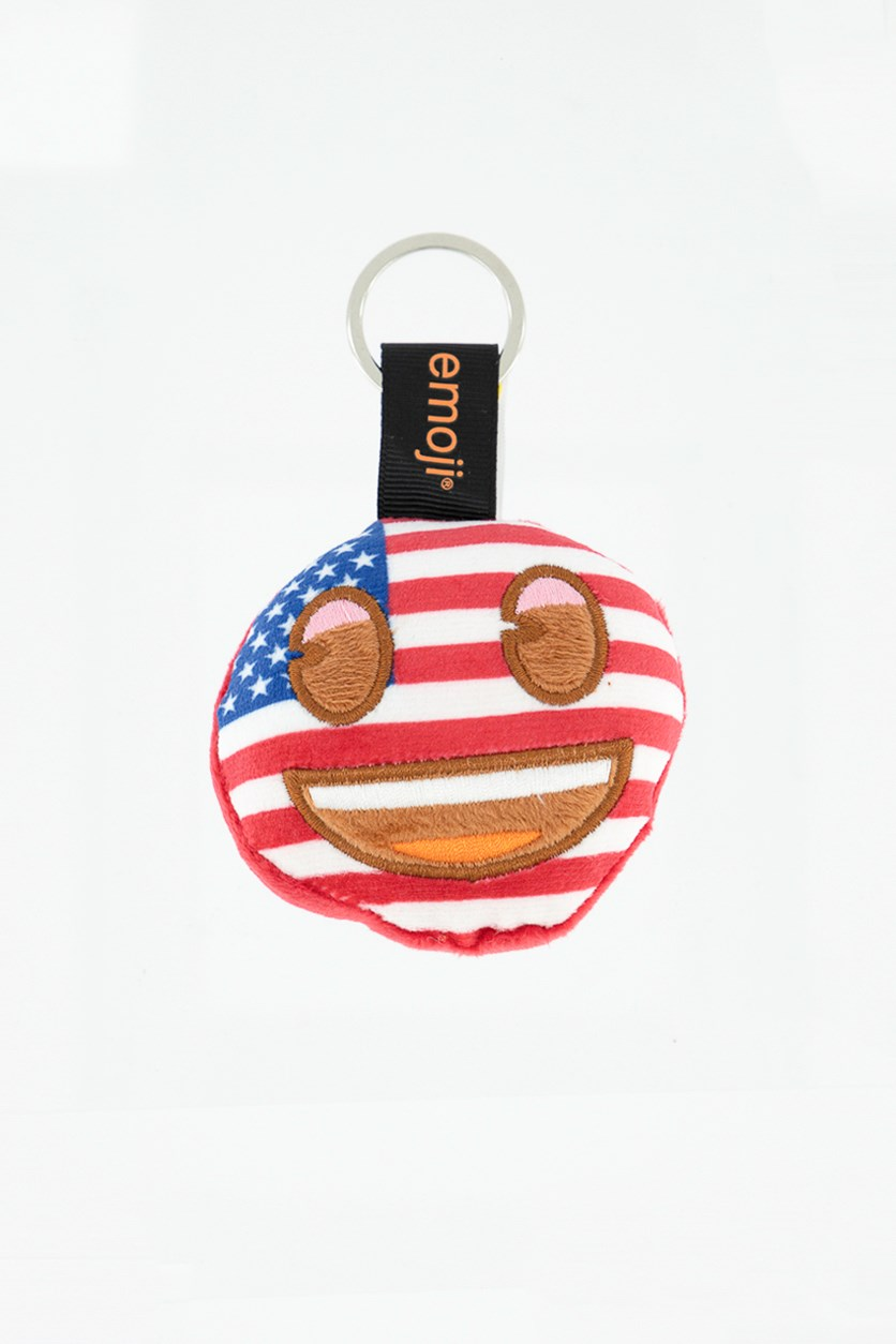Usa Smiley Face Key Chain, Red