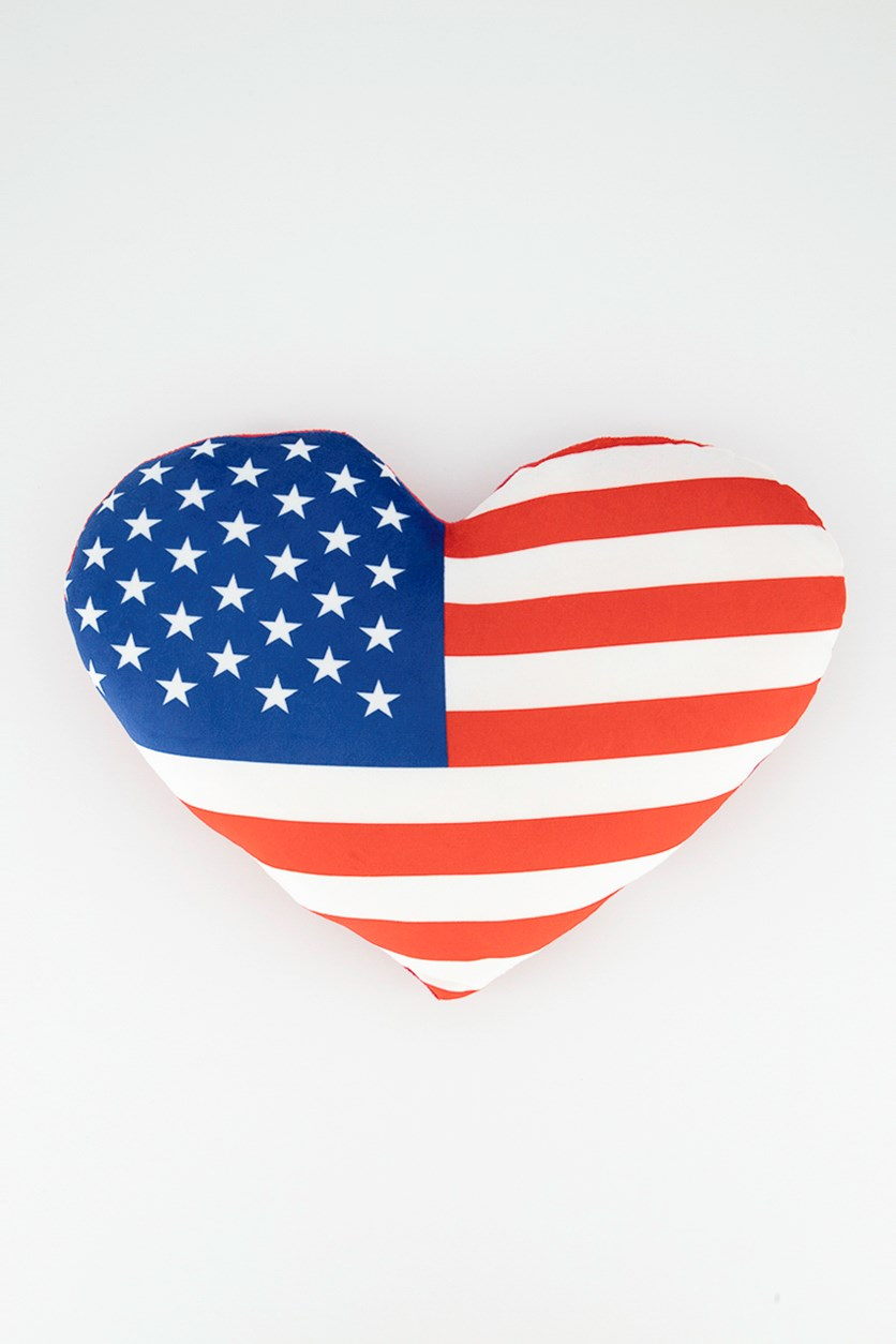 American Heart Pillow, Blue/Red