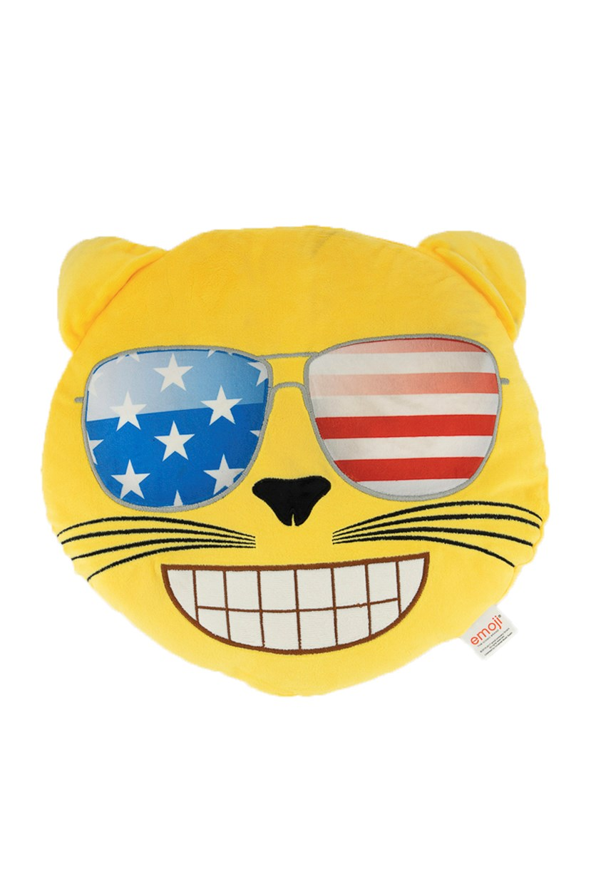 Cat With Usa Sunglasses Pillow, Yellow Combo