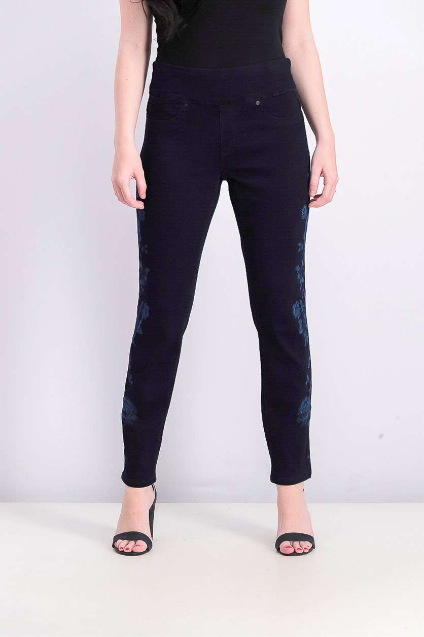Womens  Floral-Print Skinny Jeans, Rinse
