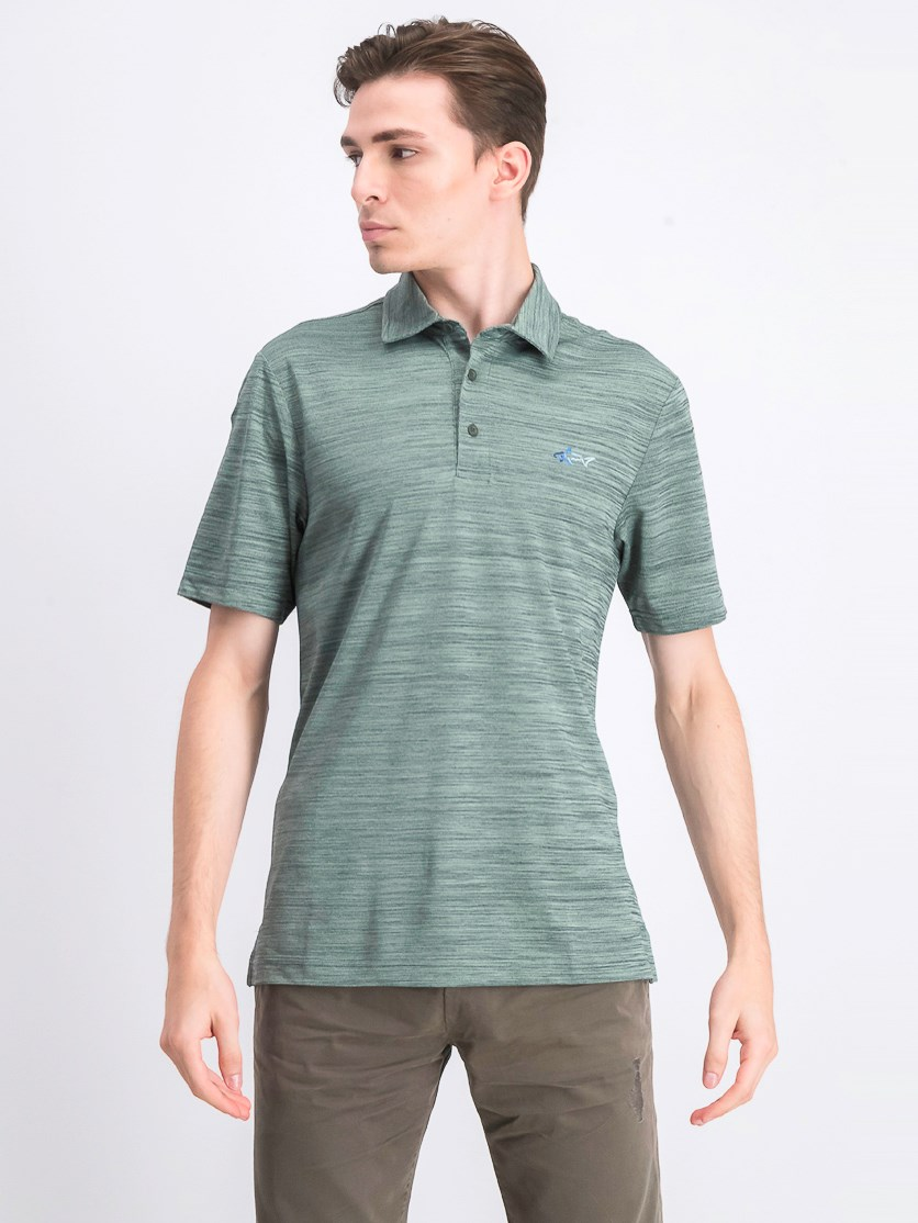 Men's 5 Iron Space-Dye Polo, Dark Marine Green