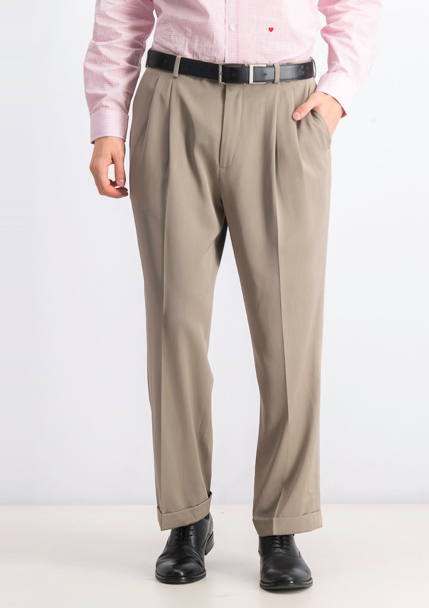 Men's Melange Pleated Dress Pants, Taupe