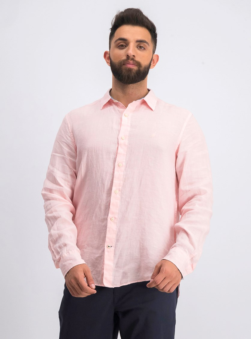 Men's Classic-Fit Solid Linen Shirt, Peach Glow