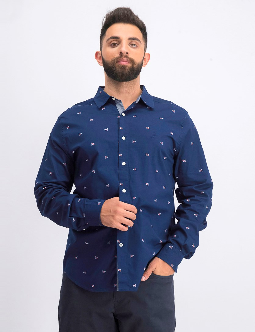 Men's Classic-Fit Performance Stretch Printed Oxford Shirt, Navy Combo
