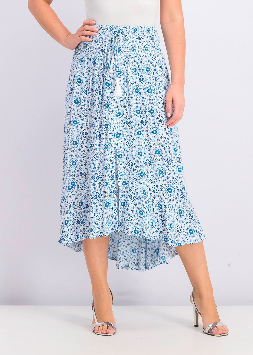 Women's Lace-Up High-Low Peasant Boho Skirt, Blue