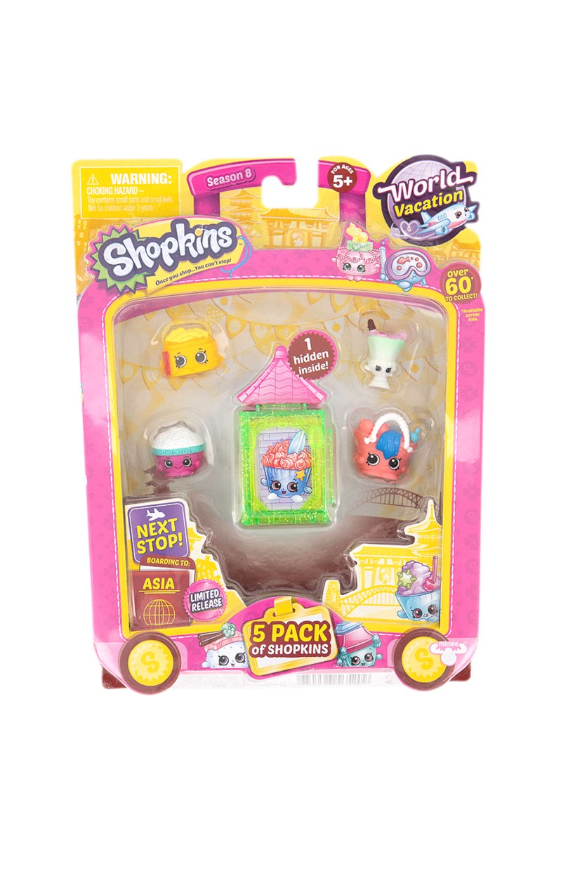 5 Pack Shopkins World Vacation Collectibles, Lime Green/Yellow