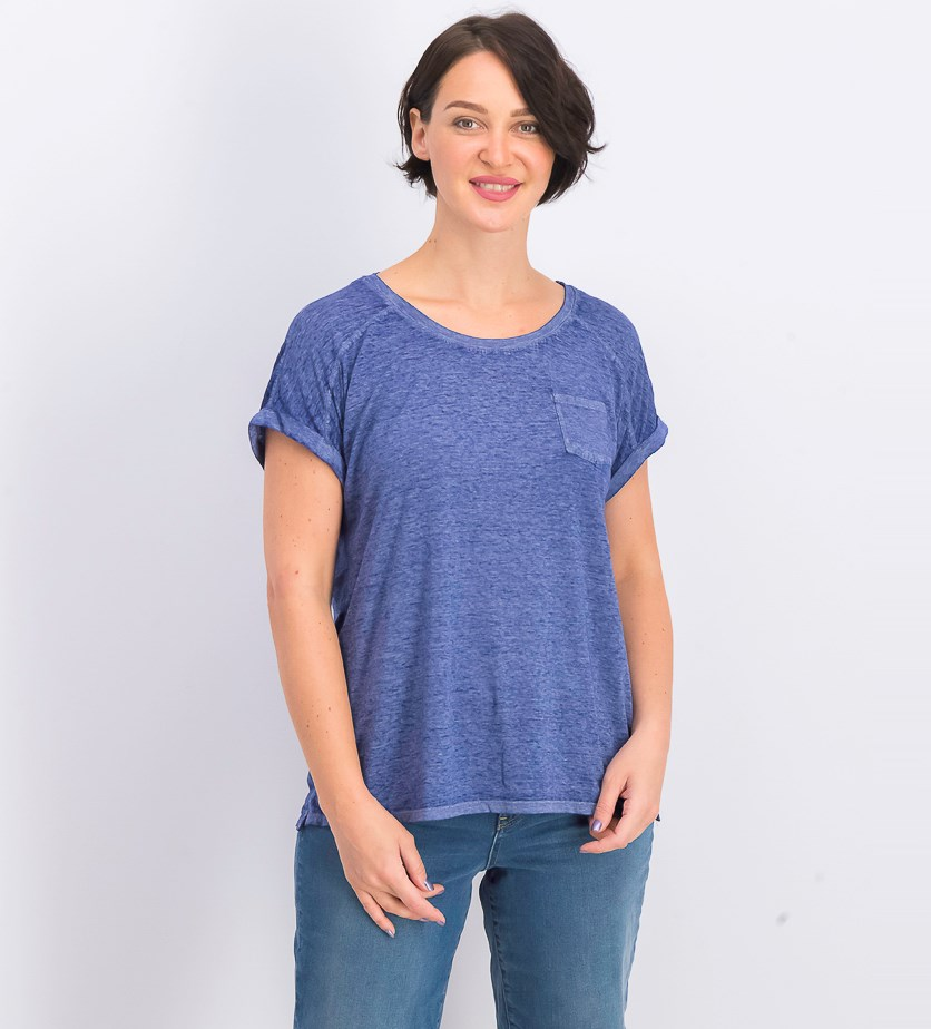 Women's One-Pocket Burnout Tee, Ink