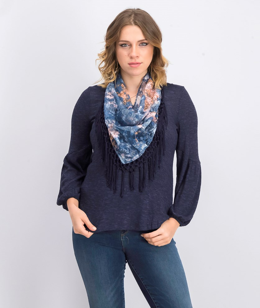 Petite Scarf Bell Sleeves Sweater, Navy