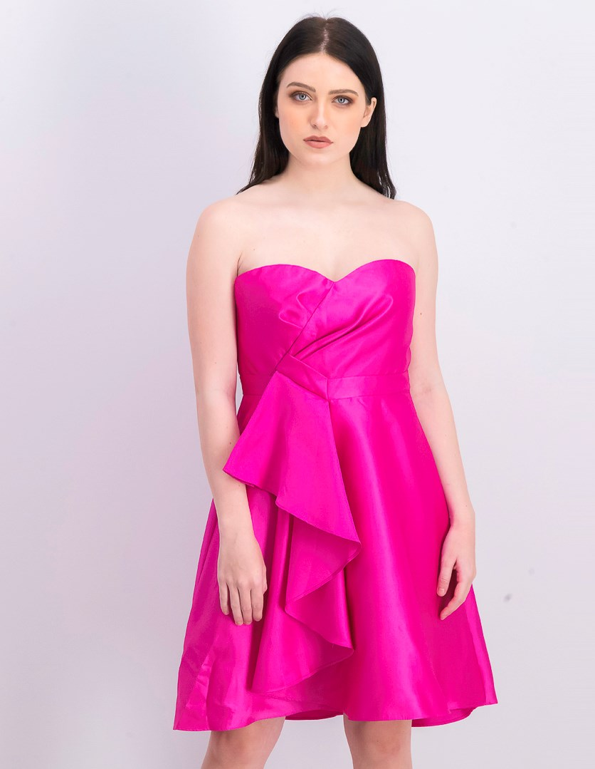 Women's Strapless Ruffled Party Dress, Magenta