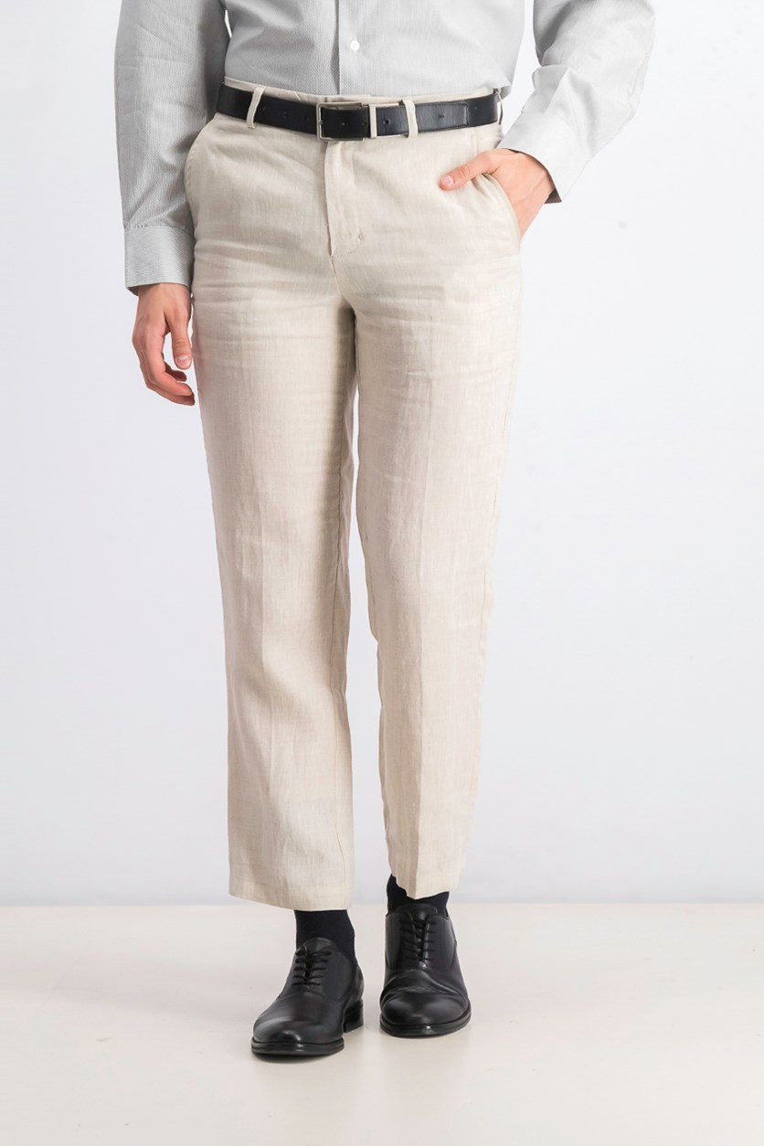 Mens Flat Front Linen Casual Trouser Pants, Natural