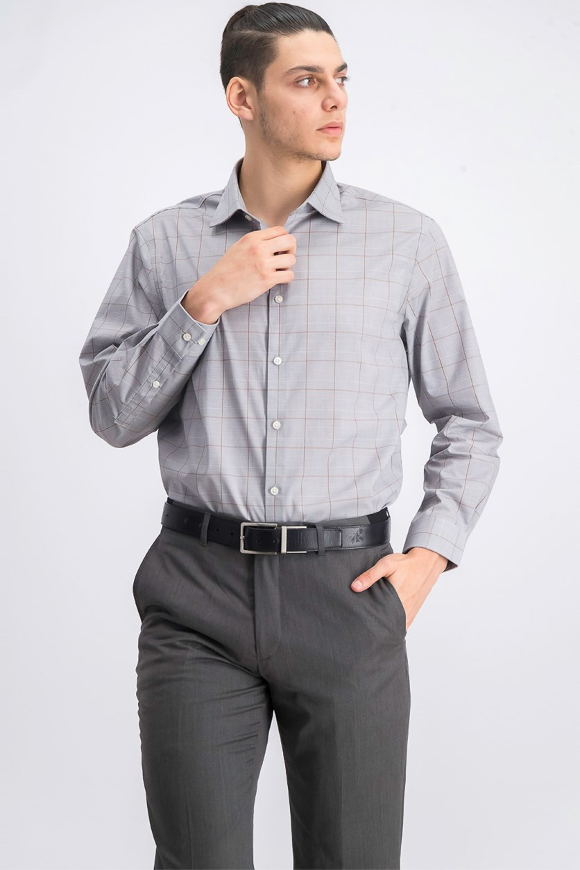 Regular Fit Non-Iron Airsoft Stretch Performance Check Dress Shirt, Grey