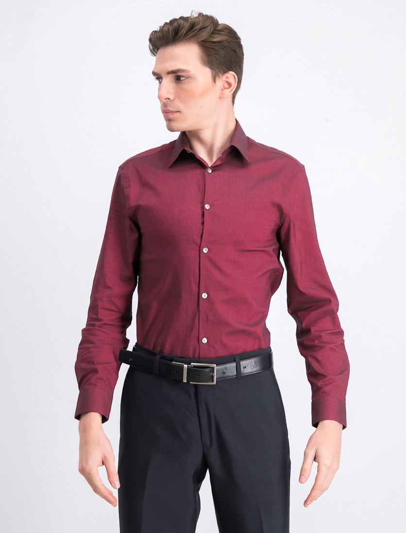 Men's Long Sleeve Dress Shirt, Geranium Red