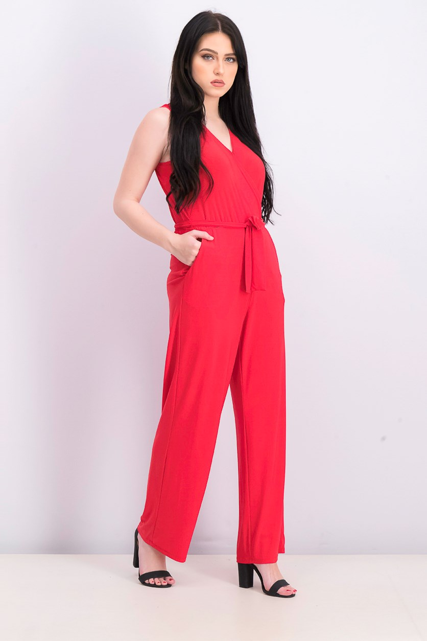 Womens Petite Surplice Belted Wide-Leg Jumpsuit, Hot Red
