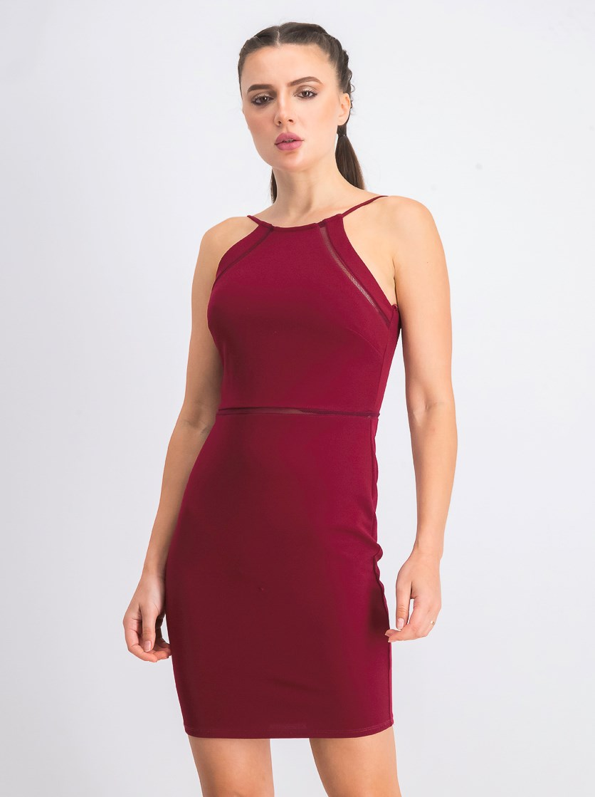 Juniors' Halter Bodycon Dress, Maroon